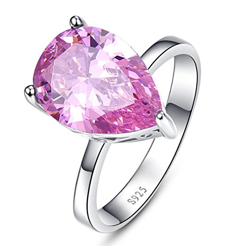BONLAVIE 925 Sterling Silver Rings Pear Cut Created Pink Topaz Promise Engagement Wedding Anniversary Ring for Women Size 7