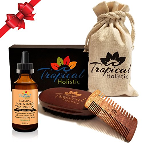 Premium Men's Beard Kit with Quality Brush, Comb, 100% Natural Organic Beard Oil 2oz, and Deluxe Cotton Bag in Gift Box. Top Quality Boar Bristle & Premium Wood. Perfect Gift For Your Special Guy