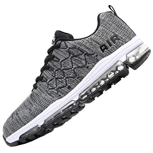 Reabo Mens Air Running Tennis Shoes Lightweight Breathable Athletic Sport Gym Jogging Casual Walking Flyknit Sneakers (9 D(M) US, Darkgrey) (Best Tennis For Running)