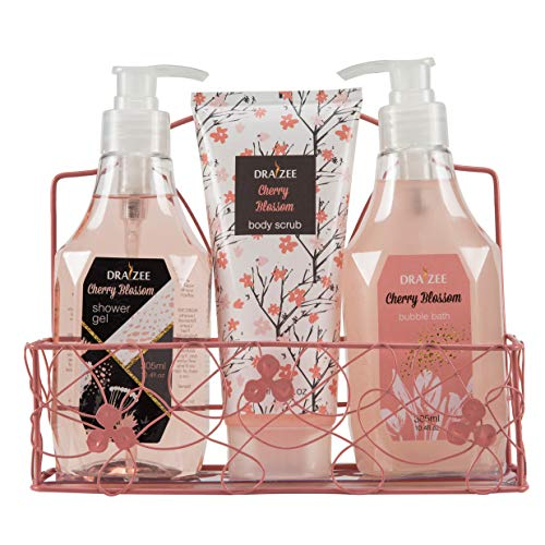 Draizee Cherry Blossom Home Spa Luxurious 3 Piece Relaxation with Lovely Fragrance Gift Basket Set for Women, Girlfriend (Cherry Blosssom, 3 Pieces) - #1 Best Mother
