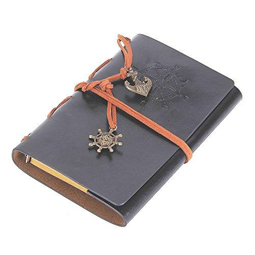 Vintage Leaf Leather Cover Loose Leaf Blank Journal Diary (Grey) - 9