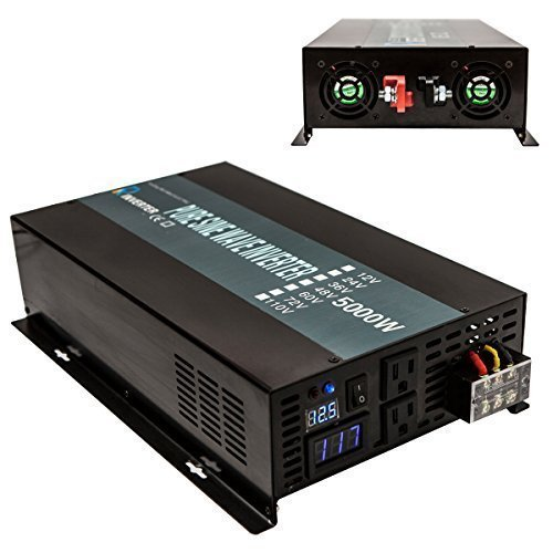 Reliable Off Grid 5000W Pure Sine Wave Inverter 48VDC to 120VAC Converter Home Inverter (Black Iron) by WZRELB
