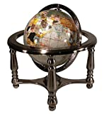 Unique Art 13'' Tall 9'' Diameter Pearl Powder Ocean Desktop 4-Leg Silver Stand Gemstone Globe