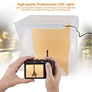 VIDPRO Photography Lighting Kit - Take photos like a Pro with this foldable PVC light box studio. FREE Charger and Extra Long Cable Included.