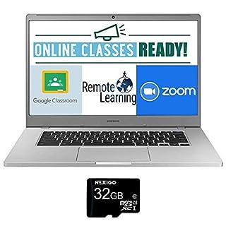 2021 Samsung Chromebook 15.6 Inch Laptop| FHD 1080P Display| Intel Celeron N4000 up to 2.6 GHz| 4GB RAM| 128GB eMMC| Bluetooth| Chrome OS + NexiGo 32GB MicroSD Card Bundle