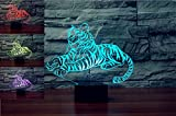3D Tiger Animal Night Light USB Touch Switch Decor Table Desk Optical Illusion Lamps 7 Color Changing Lights LED Table Lamp Xmas Home Love Brithday Children Kids Decor Toy Gift