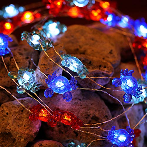 (Manvi LED Beach Lights String Battery Operated String Lights with Remote- Indoor Outdoor Decorative String Lights for Beach Party Christmas Tree Garden Patio Yard (Crab,12ft 40 LED))