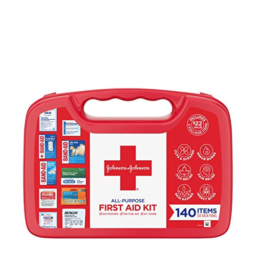 Johnson & Johnson All-Purpose Portable Compact Emergency First Aid Kit for Travel Home & Car, 140 - Kit Bandage