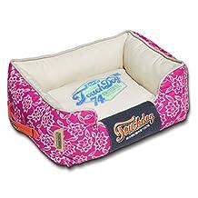 Touchdog Rose-Pedal Patterned Premium Rectangular Pet Dog Bed, Dark Pink, Cream White, Large