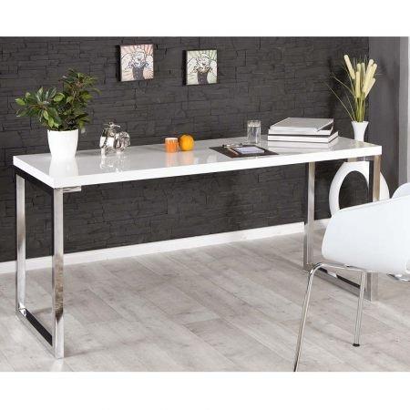 Lounge Zone Design Tisch Schreibtisch WHITE Hochglanz Weiß Breite 160cm  10973 Good Looking