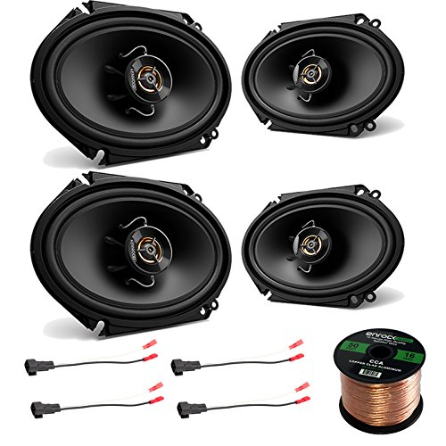 250w Car Audio - 4X Kenwood 6x8 250W 2-Way Sport Series Black Car Audio Coaxial Speakers, 4X Enrock 16 Gauge Speaker Harness Adapter W/Red Bullet for Select Ford Vehicles 1998-UP, Enrock 16-Gauge 50 Ft Speaker Wire