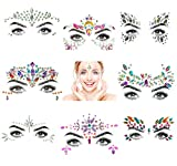 BLing 8 Sets Mermaid Face Gems Glitter,Rhinestone Rave Festival Face Jewels,Crystals Face Stickers for Eyes Face Body Temporary Tattoos (Collection 01)