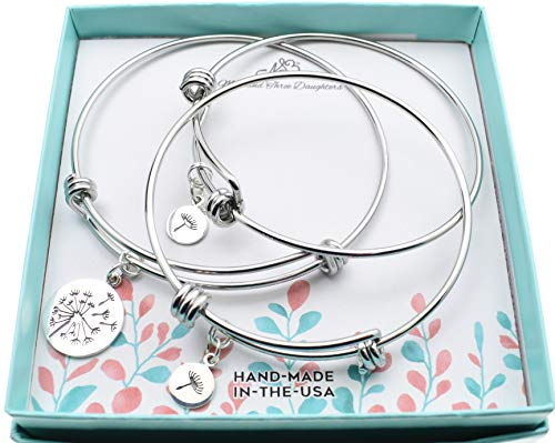 (Mother Daughter and two daughters bangle bracelets in silver stainless steel with sterling silver dandelion charms. Mother, two daughters.)