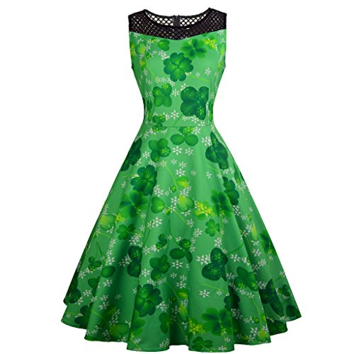 Ermonn Women Printed A Line Dress Vintage Sleeveless Swing Dress Hollow Out Cocktail Dress for ST Patrick's Day -