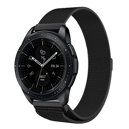 UMTELE Compatible for Samsung Galaxy Watch 42mm & Galaxy Watch Active Bands, 20mm Stainless Steel Milanese Band with Magnetic Closure Replacement with Galaxy Watch Gear S2 Classic/Gear Sport
