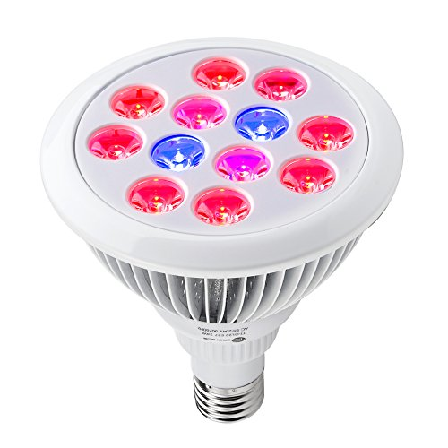 TaoTronics 24w Led Grow Light Bulb, Grow Plant Light for Hydropoics Organic Mini Greenhouse (3 Bands)