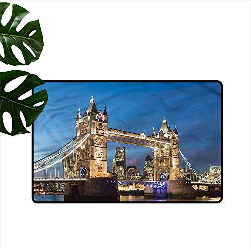 (DUCKIL Outdoor Doormat London Night Scenery Tower Bridge Non-Slip Door mat pad Machine can be Washed W35 xL59)
