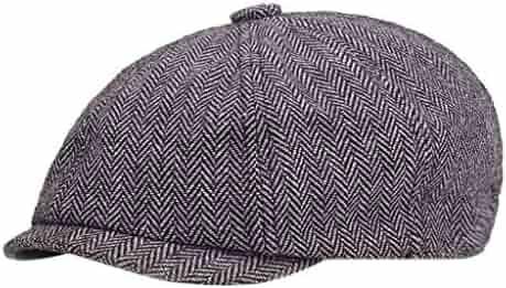 80b05736 Vintage Striped Plaid Herringbone Newsboy Baker Boy Tweed Flat Cap Mens Hat