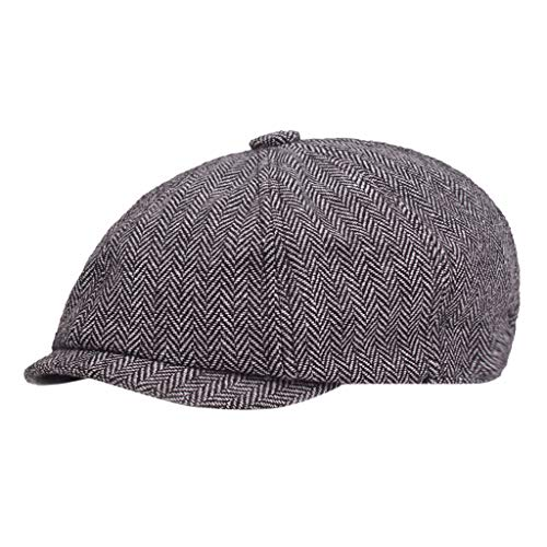 Quaanti Clearance Sale! Black Grey Herringbone Newsboy 8 Panel Baker Boy Tweed Flat Cap Mens Gatsby Hat Hot Sale (Navy)