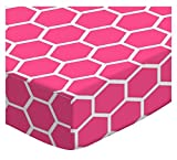 SheetWorld Extra Deep Fitted Portable Mini Crib Sheet - Hot Pink Honeycomb - Made In USA