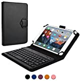 Asus MeMo Pad HD 7, HD 8 keyboard case, COOPER BACKLIGHT EXECUTIVE 2-in-1 Backlit LED Bluetooth Wireless Keyboard Leather Travel Cover Folio Portfolio Stand with 7 Colors ME173X ME180A (Black)