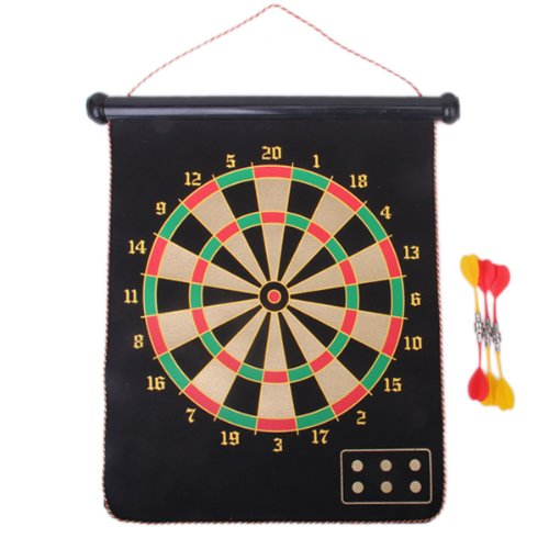"""15"""" Double-faced Hanging up Magnetic Dart Board w/ 6 Darts Ages 5 +"""
