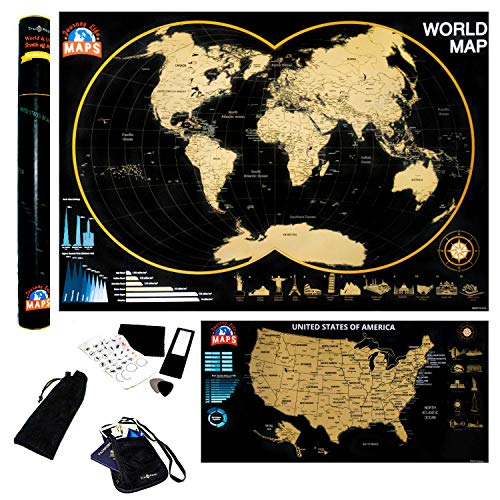 """Large Scratch Off Map United States Poster Track Your Travel Tracker 33"""" x 23"""""""