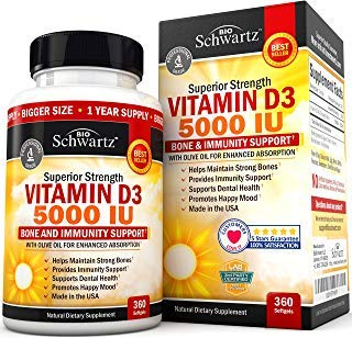 Vitamin D3 5,000 IU. Superior Absorption. 360 Tiny Softgels. Gluten Free & Non-GMO Best Vitamin D3 Supplement. Healthy Muscle Function, Bone Health and Immune Support. Made in USA by BioSchwartz