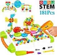 HAPTIME STEM Learning Toys, Construction Engineering Building Block Games with Toy Drill & Screw Driver To