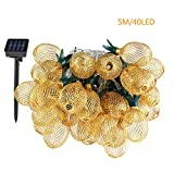 Pineapple String Lights, 200in/5m 40 LED Bulbs WaterproofSolar ChargingLantern String Lights with 2 Light Mode Fairy Lights for Wedding Garden Festival Party Halloween Christmas Indoor & Outdoor