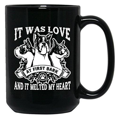 Boxer Ceramic Mug - It Was Love At First Bark Teacup, Black Coffee Mug 15oz