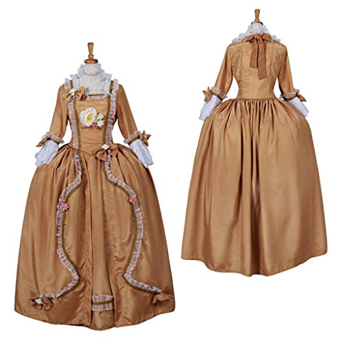 [CosplayDiy Women's Rococo Medieval Aristocrat Ball Gown Victorian Yellow Dress M] (Victorian Aristocrat Costume)