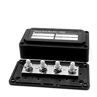 KKmoon Heavy-Duty Module Design Bus-Bar Box Terminal Board 300A with 4 Terminal Studs