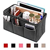 Hokeeper Felt Purse Insert Organizer, Handbag Organizer, Bag in Bag, Diaper Bag Organizer, Stand on Its Own,12 Compartments, 3 Sizes, 6 Colors (XX-Large, Gray)