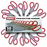 Arts & Crafts : Best 8 Inch Stainless Steel Blade Scissors, Pack of 10