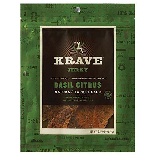 Citrus Basil Flavor - Krave Pure Foods Turkey Jerky Basil Citrus - 3.25 oz (92g) (8 Pack)
