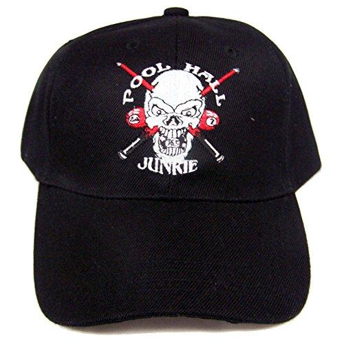 Junkie Baseball (POOL HALL JUNKIE 24/7 BILLARDS BALLS SKULL EMBROIDERED BASEBALL HAT)