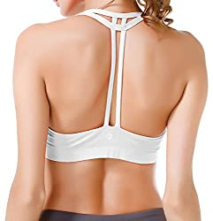 Queenie Ke Women's Yoga Bra Light Support Cross Back Wirefree Pad Soft Size S Color Angle White