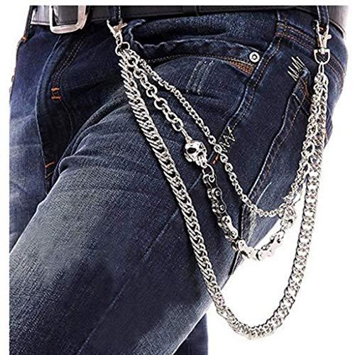 IEFIEL Mens Punk Wallet Chain Biker Fashion Metal Jeans Cool Skull Trouser Long Wallet Key Chain Silver One Size ()