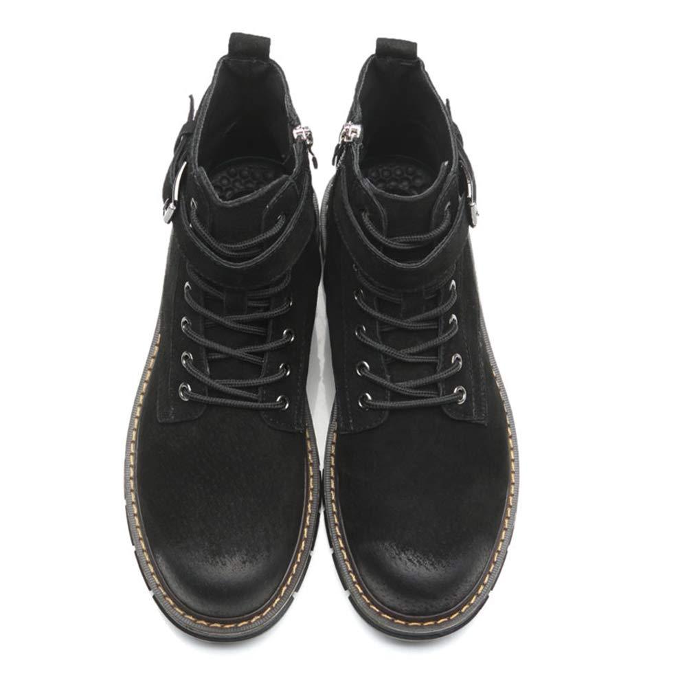 YAJIE-Stiefel, Männer Klassische Einfache Komfort Anti-rost Metall Knopfloch Knopfloch Knopfloch Seitlichem Reißverschluss Hohe Spitzen Stiefel Mode Stiefeletten Lässig (Farbe   Warm schwarz, Größe   39 EU) f9e57c