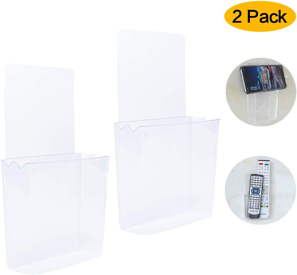 ZC GEL Remote Holder Wall Mount Damage-Free, Clear Reusable Universal Media Organizer Storage Box for Mobile Phone, Remote Control ect (2 Pack)
