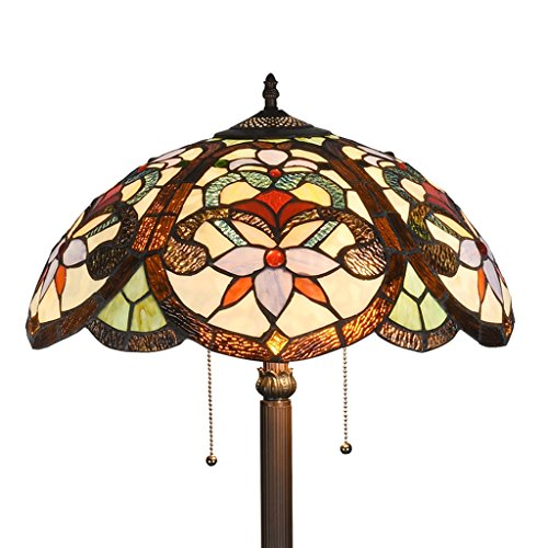 (DOCHEER Victorian Tiffany Style Floral 2-Light Floor Standing Lamp 65-Inch Tall 18-Inch Wide Stained Glass Shade, Multi-Colored)