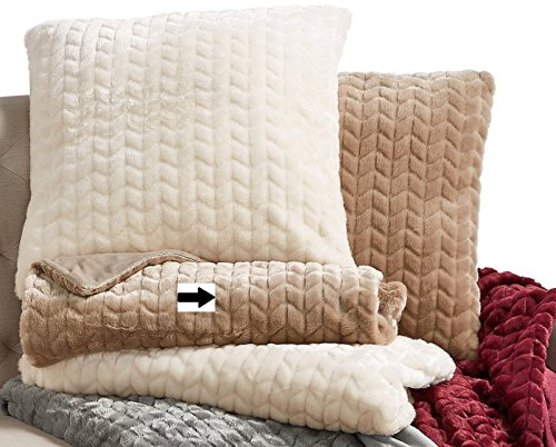 Martha Stewart Collection Chevron Faux-Fur Throw: WHEAT