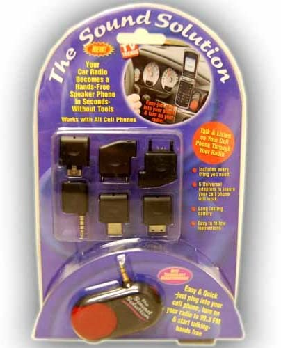 The Sound Solution Turns Your Car Radio In To A Hands Free Speaker phone 6 Universal Adapters Works With All Cell Phones