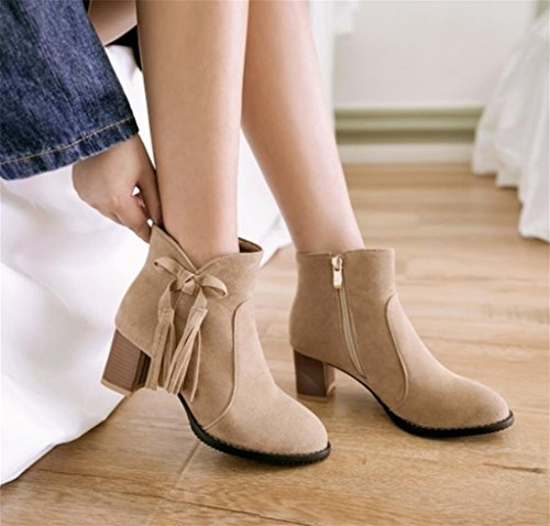High Ankle Knee Womens Biker Fashion MNII Slouch cream Boots Mid Size shoes Calf Heel Ladies Warm colored Knitted zPxwt