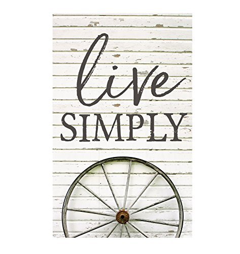 P. GRAHAM DUNN Live Simply Wagon Wheel White Printed 10.5 x 17 Wood Pallet Wall Plaque Sign]()