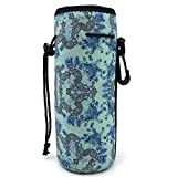 Water Bottle Carrier,Insulated Neoprene Water Gym Travel bottle Holder Bag Protector Sleeve Case Pouch Cover 0.6L or 0.75L, Great for Stainless Steel and Plastic Bottles (BLUE)