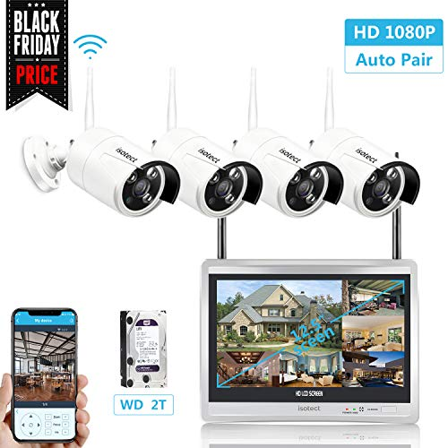 isotect [Expandable System] All in One with 12.5-inch Monitor Home Video Surveillance System, Wireless Security Camera System, 8CH Full HD 1080P Security Camera System 4pcs 1080P IP Cameras, 2TB HDD