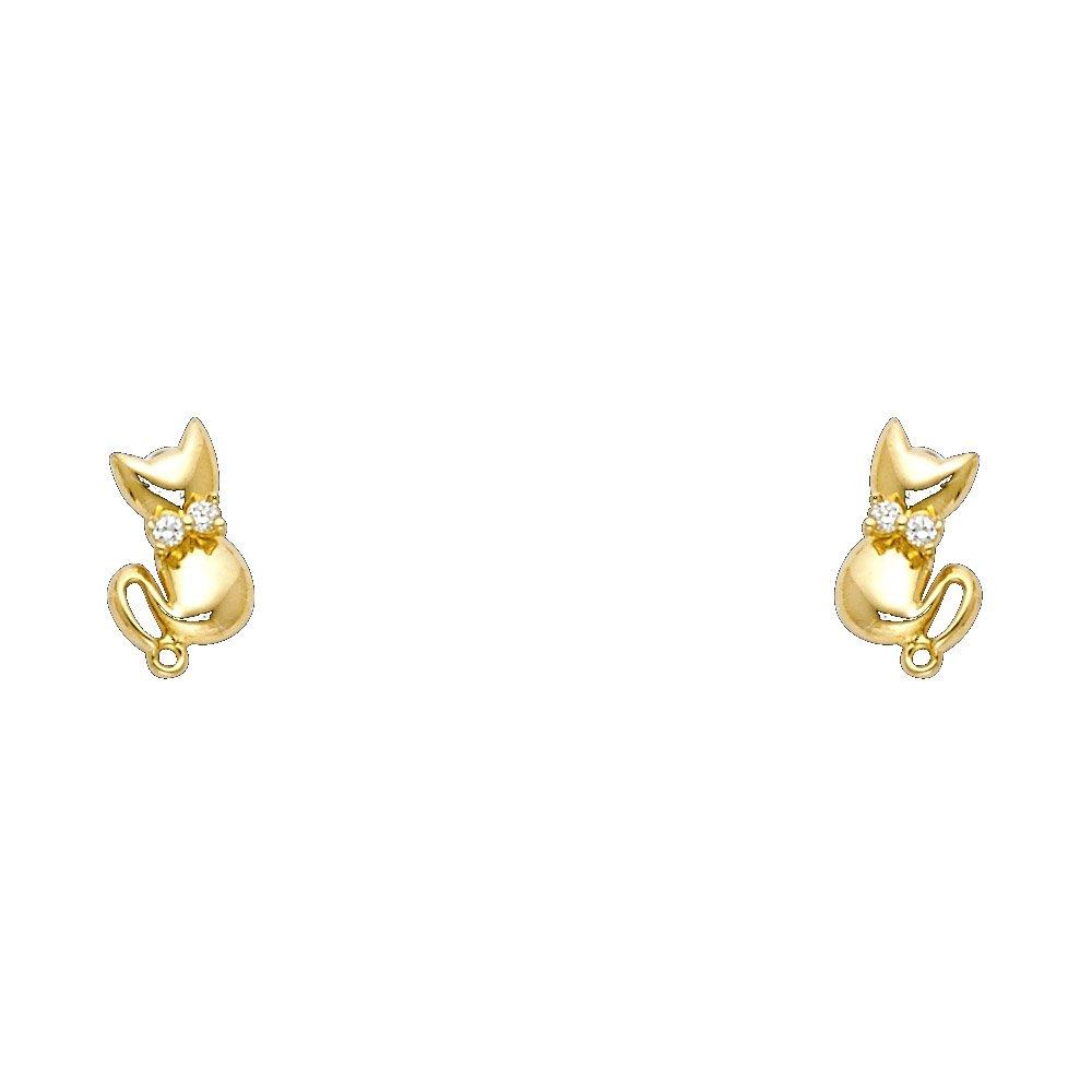 14K Yellow Gold CZ Cute Cat Kitten Screw Back Stud Earrings Ioka