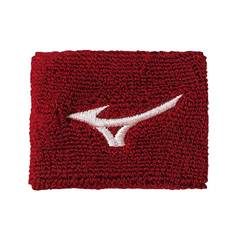 Mizuno 2-Inch Wristband (Red) - one pair of wristbands ()
